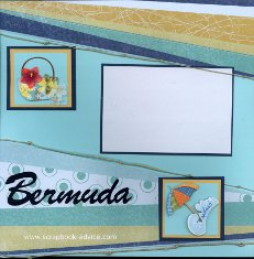 Bermuda Scrapbook Layout using knotted rope, title cut, and stacked embellishments