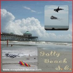 Digital Beach Scrapbook Layout using larger 12 x 12 inch photo of beach as background with smaller beach photos superimposed