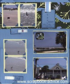 Beach Scrapbook Layout using 2 photos per matte, old fashioned photo corners and patterned paper