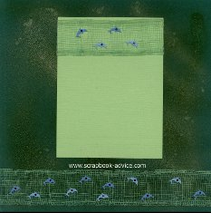 Bermuda Scrapbook Layout with background paper full photo of dolphin and matching page colored with green and gold glimmer mist, green coastal netting and blue porposie dolphin brads.
