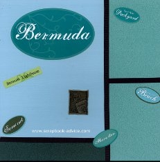 Bermuda Scrapbook Layout for Title Page Color Block with Passport Charm