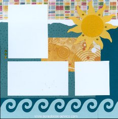 Bermuda Scrapbook Layout with wave die cut across bottom in blue bling, sun die cut in gold bling accented with gold reinstones