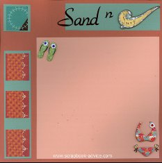 Bermuda Scrapbook Layout using color blocking with printed paper, title die cut and stacked embellishments