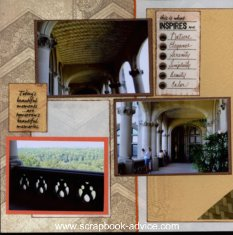 Scrapbook Layout using Scrapbooking brads at bullet points for a list