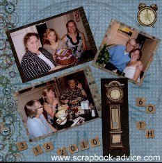 Birthday Scrapbook Layout with Chalk and stencils