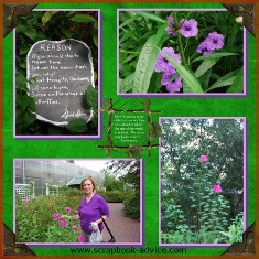 Digital Scrapbook Layout of Cypress Gardens near Charleston SC
