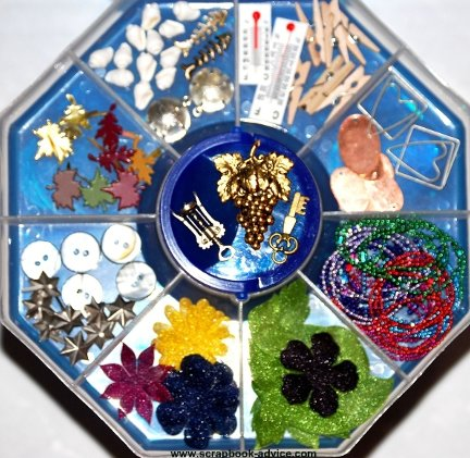 Scrapbook Embelishment Tray with Sorted Embellishments