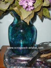 Clear Glass Vase decorated or colored with Blue and Green Alcohol Inks