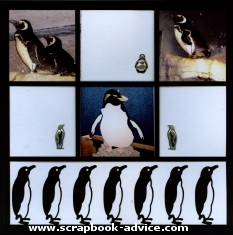 Penguine Scrapbook Layout Die Cut Paper