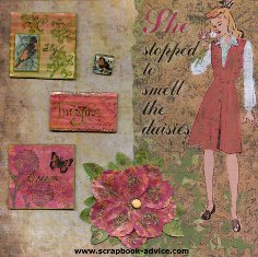 Book of Me Scrapbook Cover Layout done using Faber Castell Art Mediums