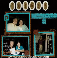 Father and Grandfather Scrapbook Layout using Michael Strong Cloisonne Punch & Spell Alphabelt Stamps