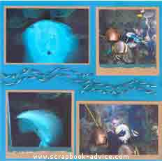 Aquarium Scrapbook Layout using metallic copper paper & fibers