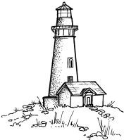 Yaquina Head Lighthouse, Oregon - Cling Mounted Red Rubber Stamp by Cornish Heritage Farms