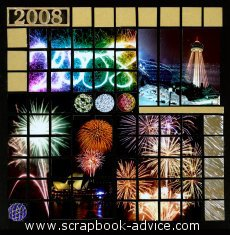 Mosaic Scrapbook Layout using fireworks photos from New Years Eve