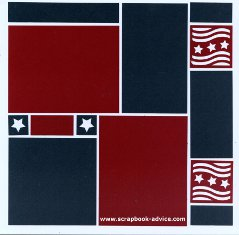 Mosaic Moments Scrapbook Layout Red White and Blue with Flag Cornerstones