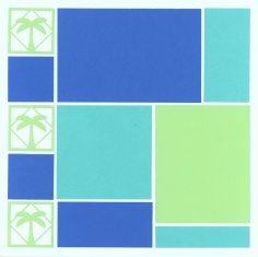 Beach Scrapbook Layout from Mosaic Moments Color Blocking in shades of Blue with Palmetto Tree diecuts