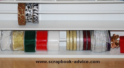ScrapbooK Oranization Ribbon Storage