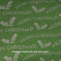 POW Glitter Paper in Moss called Moss Merry with Holly Leaves and Merry Christmas