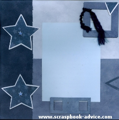 Scrapbook Layout using Star Shaped Brads for Scrapbooking