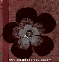 Rust Floral Scrapbook page with Pearl Brad for Scrapbooking