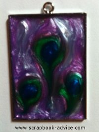 Jewelry Pendant Rectangle made with Pearl Lacquer Paint