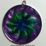 Pendant Jewelry Round with Pearl Lacquer Paint