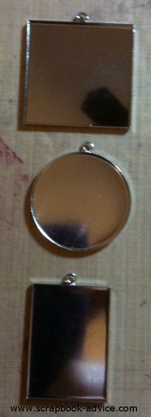 Jewelry Pendant sizes, Round, Square and Rectangle Silver Metal