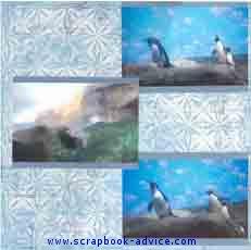Aquarium Scrapbook Layout showing Penguines in Winter Environment