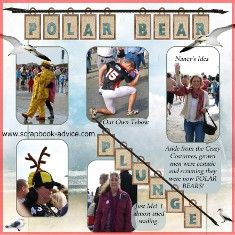 Polar Bear Plunge Scrapbook Layout from Sullivans Island SC 2012