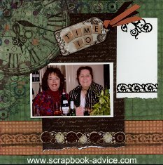 Retirement Scrapbook Layout using Chalk and stencils
