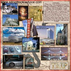 Road Trip Summary Scrapbook Layout Page