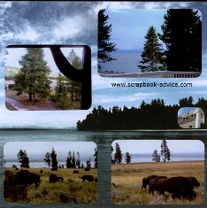 Yellowstone Scrapbook Layouts showing Buffalo at Yellowstone Lake Lodge