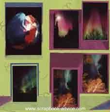 Scrapbook Layout featuring Alaska's Northern Lights or Aurora Borealis