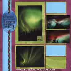 Scrapbook Layout featuring Alaska's Northern Lights or Aurora Borealis