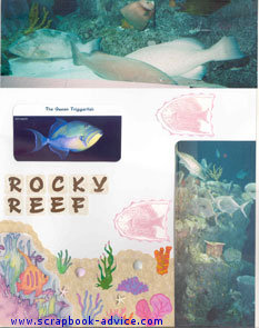 Aquarium Scrapbook Layout using embossed rubber stamp images