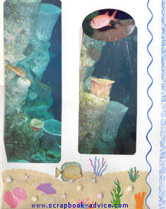 Aquarium Scrapbook using embossed rubber stamp images