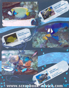 Aquarium Scrapbook Layout using wavy cut background papers