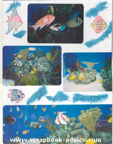 Aquarium Scrapbook Layout using tags, stickers and wavy cut paper