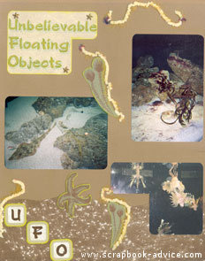 Aquarium Scrapbook Layout using fibers and sand textured scrapbook paper