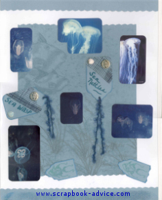 Aquarium Scrapbook Layout using tags, fibers, and coastal netting