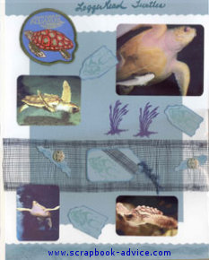 Aquarium Scrapbook Layout using tags, fibers & coastal netting