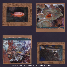 Aquarium Scrapbook Layoutn metallic copper paper and fibers