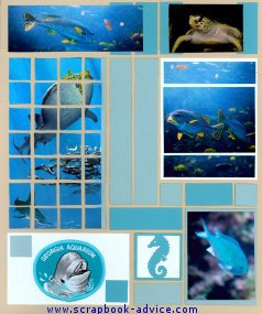 Mosaic Aquarium Scrapbook Layout using Mosaic Moments tile design