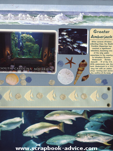 Aquarium Scrapbook layout using Scrapbook Brads for embellishments
