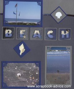 Beach Scrapbook Layout using Shell embellishments and title spelling