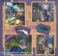 Aquarium Scrapbook Layout using metallic copper paper