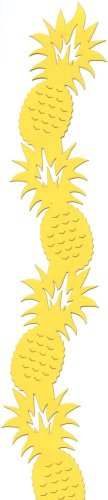 Die Cut of Hawaiian Pineapples stacked to form a side border in bright yellow