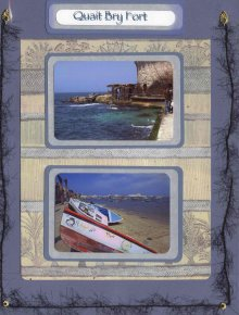 Egyptian Scrapbook Layout with photos of Alexandria Lake and Quiat Bry Fort