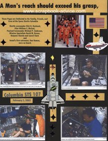 Memorial Col.umbia Shuttle Scrapbook Layout