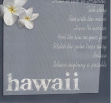 Scrapbook Paper with Hawaii and white hibiscus and text